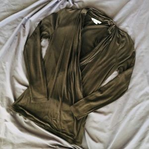 NWOT Banana Republic V-Neck Brown Wrap Blouse, XS